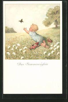 Künstler-AK Pauli Ebner: Das Sommervögelein, ein Kleinkind versucht einen Schme in Sammeln & Seltenes, Ansichtskarten, Motive   eBay