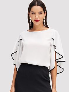 Split Flounce Sleeve Top Women 2019 Summer Butterfly Sleeve Blouse Office Workwear Length Sleeve Blouses WHITE S Batwing Top, Ladies Dress Design, Types Of Sleeves, Fashion News, Fashion Online, Fashion Outfits, Fashion Styles, Fashion Women, Women's Fashion