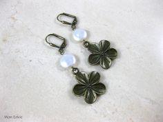 Antiqued Bronze Flowers, White Coin Pearls, Dangle Earrings. $8.00, via Etsy.