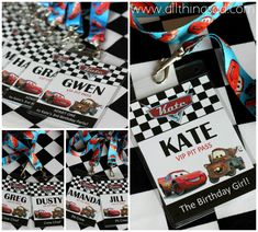 "VIP Pit Passes for Kate's Cars-Themed Birthday Party, with a special one for the birthday girl, the ""Crew Chiefs"" (mom & dad) and ""Pit Crew"" (party helpers)"