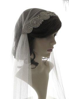 Vintage style veil couture bridal cap veil by SarahMorganBridal, 1920s Wedding, Art Deco Wedding, Wedding Veils, Wedding Dresses, Dress Hairstyles, Wedding Hairstyles, Mantilla Veil, Amazing Wedding Dress, Bridal Outfits