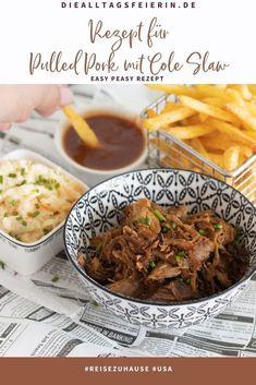 Rezept für Pulled Pork mit Cole Slaw, #reisenzuhause diealltagsfeierin.de, USA Coleslaw, Pulled Pork, Easy, Beef, Food, Shredded Pork, Meat, Coleslaw Salad, Essen