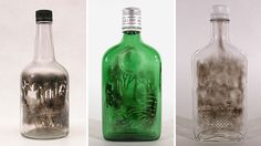 Artist Jim Dingilian fills discarded glass bottles with smoke, then using tools attached to dowel rods, etches away the soot to create beautiful drawings inside.