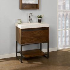 LUX HOME || Discount Plumbing and Hardware || Kitchen and Bath Fairmont 1505-VH3018 M4 30x18 Open Shelf Vanity - Natural Walnut [Fairmont] - Ships in 2 - 4 weekPlease note that vanities do not include tops or sinks. This Fairmont Product Features: Collection: M4 Use with S-11030W1 or S-11030W8 - 30x18 Ceramic Sink Drawer: 1 (push-open) Finish: Natural Walnut Dimensions: 30 x 17-1/2 x 33-1/8 Weight: 111
