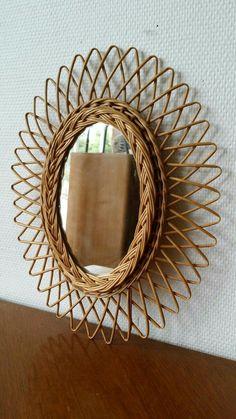 I Love Mirrors, Unique Mirrors, Boho Bedroom Decor, Bohemian Decor, Bamboo Furniture, Furniture Design, Flax Weaving, Wicker Mirror, Natural Home Decor