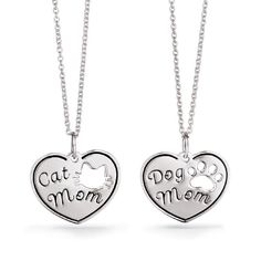 "The purrr-fect gift for any pet lover! Treasure your pet with a cute cat or dog pendant necklace. Engraved with either ""Cat Mom"" or ""Dog Mom"" and a cut out of the pet's paw print.FEATURES• Necklace is 19""L• Spring ring closure• Pendant measures 3/4"" W x 5/8"" HMATERIALS• Sterling SilverCARE• Clean with a sterling silver jewelry cleaner STERLING SILVER is the standard for fine silver jewelry in the world over. Only Sterling Silver can be stamped with a &ldqu..."