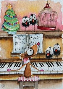 Mouse plays Jingle bells on the piano for the lovely little crows... tis the season right... Enjoy!