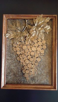 Diy Crafts - -Fitness art images Ideas for 2019 fitness Coin Crafts, Diy And Crafts, Arts And Crafts, Art Crafts, Button Art, Button Crafts, Wine Cork Art, Coin Art, Recycled Art