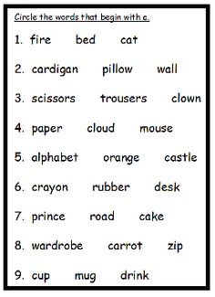 Alphabet Workbook Letter C page 8. To purchase workbook for only £1, please click the link above.