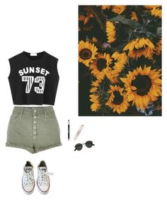 """""""Untitled #1764"""" by hannabs on Polyvore featuring Chicnova Fashion, River Island, Topshop, Converse, Ray-Ban and Maybelline"""