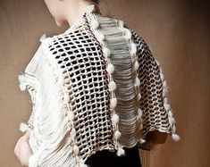 Raw Wool Arete - Handwoven shawl