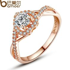 BAMOER Rose Gold Color Heart Shape Ring for Women with Paved Micro AAA CZ Jewelry JIR027