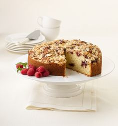 raspberry-almond-streusel-coffee-cake  Photography by Tony Kubat