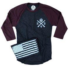 Men's Old Glory Baseball Raglan T Shirt (Heather Black / Truffle)