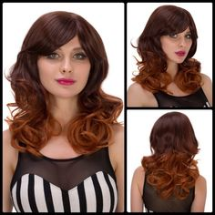 Women's Medium Curly Side Bang Synthetic Hair Wig #>=#>=#>=#>=#> Click on the pin to check out discount price, color, size, shipping, etc. Save and like it!