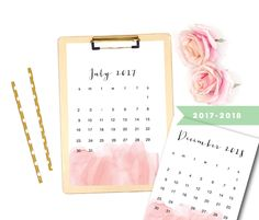 Check out these water colored calendars! Etsy shop https://www.etsy.com/listing/540182267/printable-peach-watercolor-calendar-2017