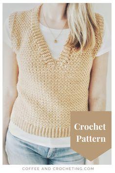Crochet Vest Pattern, Easy Crochet Patterns, Top Pattern, Linen Stitch, Moss Stitch, Modern Crochet, Crochet Hook Sizes, Crochet Accessories, Toffee