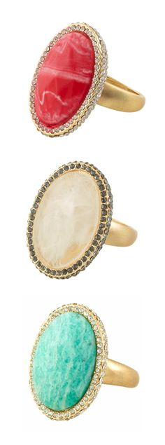 An incredible statement ring, available in 3 fabulous colors. Love the pave crystal border.