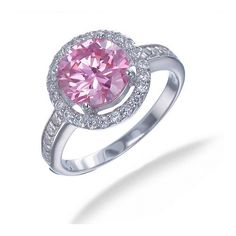 2.50 CT Pink and White CZ Ring in Sterling Silver (Available in Sizes 5 - 9) - Jewelry - JewelryShop