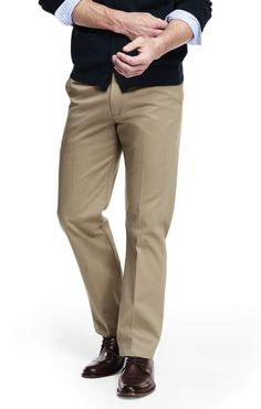 Lands' End Men's Big & Tall Comfort Waist No Iron Twill Dress Trousers-Dark Asphalt Heather Mens Big And Tall, Big & Tall, Tall Pants, Khaki Pants, Iron Shirt, Dress Trousers, Wool Dress, Mens Clothing Styles, Kids Outfits