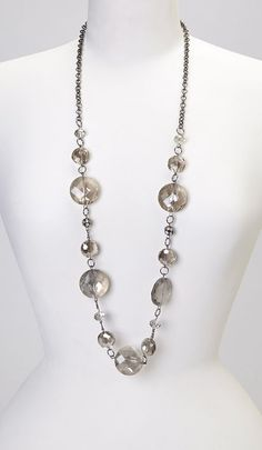 Black Diamond Faceted Station Necklace