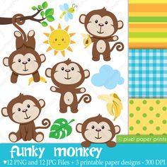 Funky Monkey - Clipart and Digital paper set - Monkey clip art Clipart, Cute Monkey, Monkey Baby, Scrapbook Paper, Kit Scrapbook, Scrapbooking, Paper Design, Baby Boy Shower, Art Images