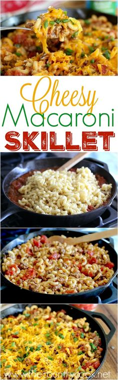 Cheesy Macaroni Skillet recipe from The Country Cook. This is my family's favorite and it reheats so well. A great freezer meal too. It uses Progresso's Tomato Soup in the base - so good! #ProgressoEats