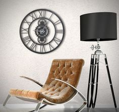 Metal wall clock for a unique interior with a industrial touch . Available on the shop Artwall and Co ! Metal Clock, Metal Wall Art, Wood Wall, Contemporary Wall Decor, Barcelona Chair, Decoration, Interior, Styles, Furniture