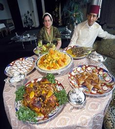 Moroccan food: lamb kebobs, cous cous, lemon chicken and olives, Bastilla, salad and a platter of pastries! Morrocan Food, Moroccan Kitchen, Moroccan Dishes, Food N, Food And Drink, Moroccan Restaurant, Asia, International Recipes, Main Meals