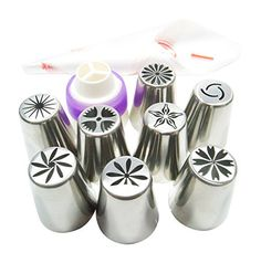 Pridebit NEW Russian Piping Tips CakeCupcake Decorating Tips 8 Extra Large Stainless Steel Icing Nozzles 1 Tricolor Coupler 10 Disposable Pastry Bags -- Check out this great product.