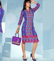 Buy Alluring Rayon Cotton Printed Multicoloured Stiched Fashion Kurtis party-wear-kurti online