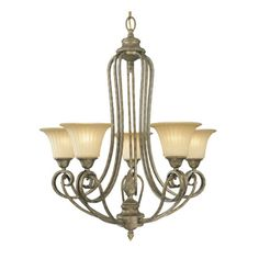 Chandelier in artisan bronze with ribbed glass shades.Product: ChandelierConstruction Material: Metal and glass
