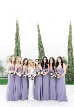 Glam Modern Wedding in Ivory and Lilac wedding bridesmaids Glam Modern Wedding in Ivory and Lilac Modern Bridesmaid Dresses, Lavender Bridesmaid Dresses, Wedding Bridesmaids, Wedding Dresses, Bridesmaid Gowns, Lilac Wedding Themes, Lavender Wedding Theme, Wedding Colors, Wedding Ideas