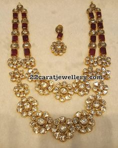 Two Rows Diamond Floral Necklace
