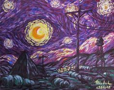 Welcome To Night Vale Starry Night Vale by Eirieniel author:Marie Zenack We have to face the startli Night Vale Presents, Zack E Cody, Glow Cloud, The Moon Is Beautiful, Pretty Art, Van Gogh, Les Oeuvres, Cool Art, Horror
