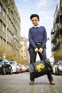 Weekender bag with girl applique Photo taken by Smith Photography