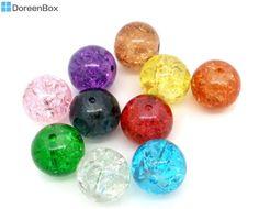 Doreen Box hot- 200 Mixed Crackle Glass Round Beads 10mm Dia. mixed at random (B05648)