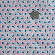 FULL vintage feedsack fabric - RED & BLUE Art Deco Floral....Nauvoo Quilt Co