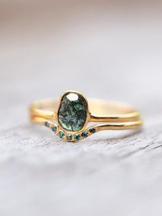 Dragon's Eye // Blue Diamond Bridal Ring Set - Gardens of the Sun Jewelry    The intense, reverent proposal was made without fanfare, without witnesses ... and without a ring.