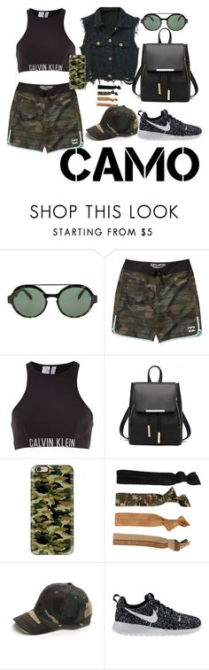 """""""Go Camo!"""" by darling-ange1 ❤ liked on Polyvore featuring Italia Independent, Billabong, Calvin Klein, Casetify, Glam Bands, NIKE and camostyle"""