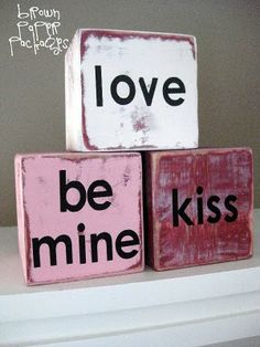 wooden valentine blocks!