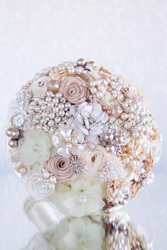 Beige champagne wedding brooch bouquet - Golden Glow