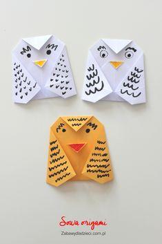 Łatwe origami – sowa « Zabawy dla dzieci, rozwój dziecka Silicone Molds, Cards, Kids Origami, Maps, Playing Cards