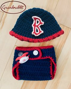 BOSTON RED SOX Baby Girls Crocheted Baseball Cap by Grandmabilt, $55.00