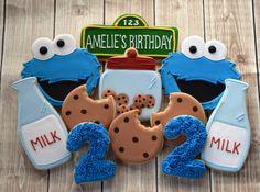 Sesame Street Cookies Cookie Monster Cookies by FlourishCookies Monster 1st Birthdays, Monster Birthday Parties, 2nd Birthday Parties, Birthday Ideas, Elmo Party, Birthday Cookies, 1st Boy Birthday, Festa Cookie Monster, Cookie Monster Cakes