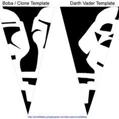 Star Wars Paper Snowflakes - Instructions + patterns for Boba Fett & Darth Vader Star Wars Snowflakes, Paper Snowflakes, Snowflake Ornaments, Christmas Snowflakes, Darth Vader, Crafts To Make, Fun Crafts, Geek Crafts, Paper Snowflake Template