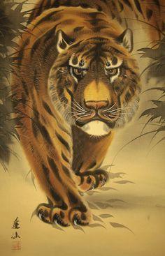 "Japanese Hanging Scroll ""Glaring Tiger""  @Cindy Miller Leonard Silk Fabric, Tigers, Japanese, Antiques, Antiquities, Antique, Japanese Language, Old Stuff, Big Cats"