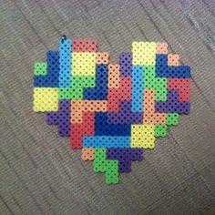 Tetris heart hama beads by jaynechains