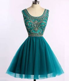 Green A -line Round Neck Tulle Short Prom Dress, Green Homecoming Dress, Beading Short Prom Dress, Short Party Dress, Sweet 15 Dress