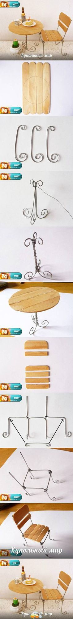table and chair from tongue depressors and paper clips or regular wire! cute for a dollhouse or somethign for a little girl when you can't sew them a doll! :D